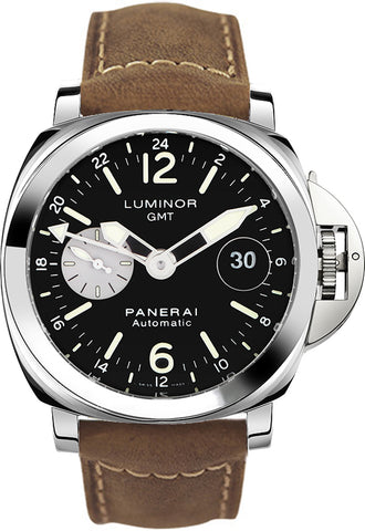 Panerai Luminor GMT Automatic Acciaio 44mm BRN Leather Watch PAM01088