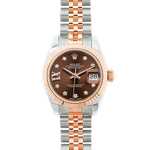 Rolex Datejust 28 Chocolate Dial Star DIA SS/RG Jubilee Watch 279171