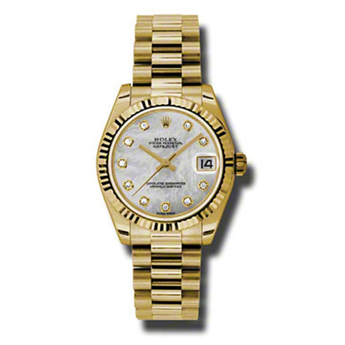 Rolex Datejust 31 White MOP Dial Yellow Gold President BR Watch 178278