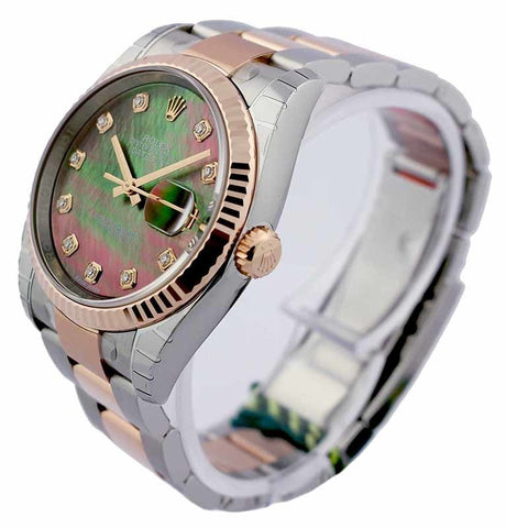 Rolex Datejust 36 Mother of Pearl Dial DIA Fluted Oyster Watch 116231
