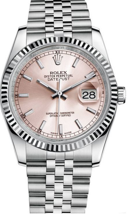 Rolex Datejust 36 Pink Dial Fluted Jubillee Steel Unisex  Watch 116234