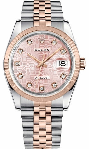 Rolex Datejust 36 Pink Jubilee Dial DIA Fluted Jubilee RG Watch 116231