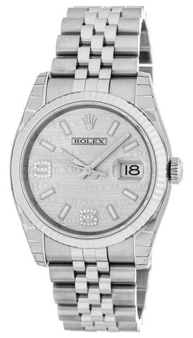 Rolex Datejust 36 Rhodium Waves Dial DIA Fluted Jubilee Watch 116234