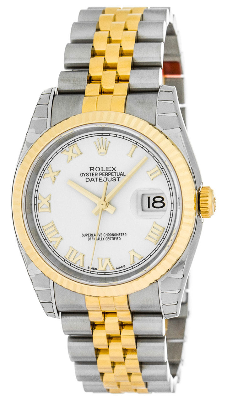 Rolex Datejust 36 Roman White Dial Fluted Jubilee Men's Watch 116233