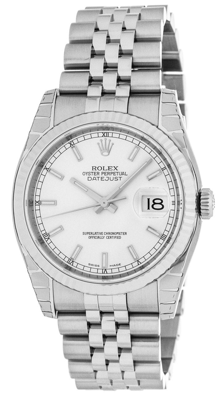 Rolex Datejust 36 Silver Dial Index Marker Fluted Jubilee Watch 116234