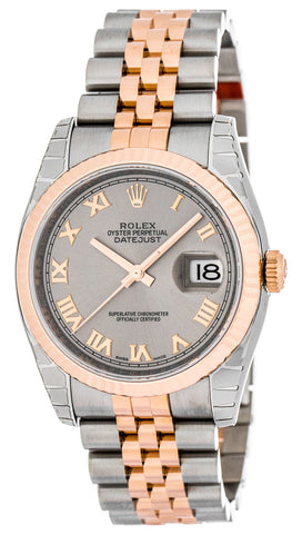 Rolex Datejust 36 Silver Fluted 18ct Everose Gold Jubilee Watch 116231