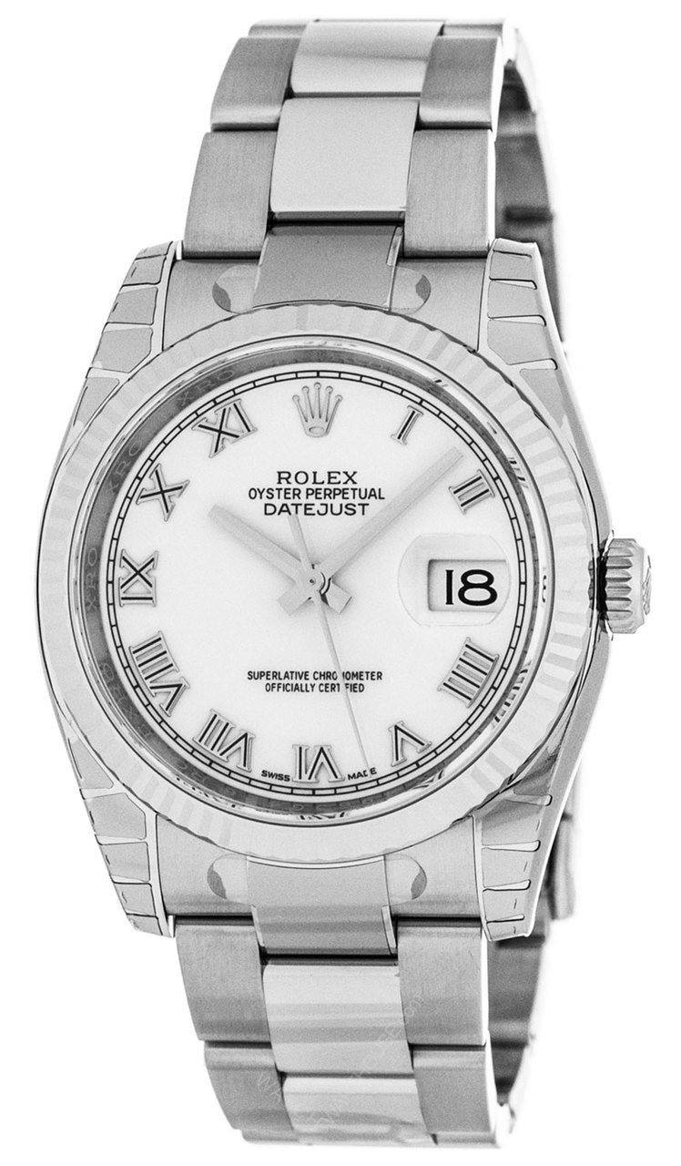 Rolex Datejust 36 White Dial Roman Markers Fluted Oyster Watch 116234