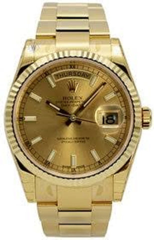 Rolex Perpetual Day-Date 36 Champ Dial Fluted YG Oyster Watch 118238