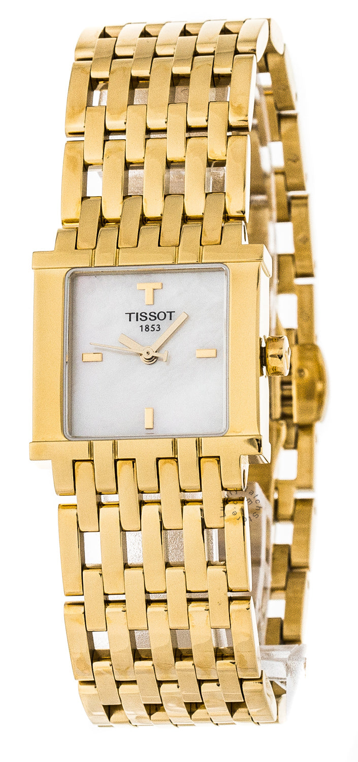 Tissot T-Trend Six-T White Pearl Dial Gold PVD Women Watch T02518185