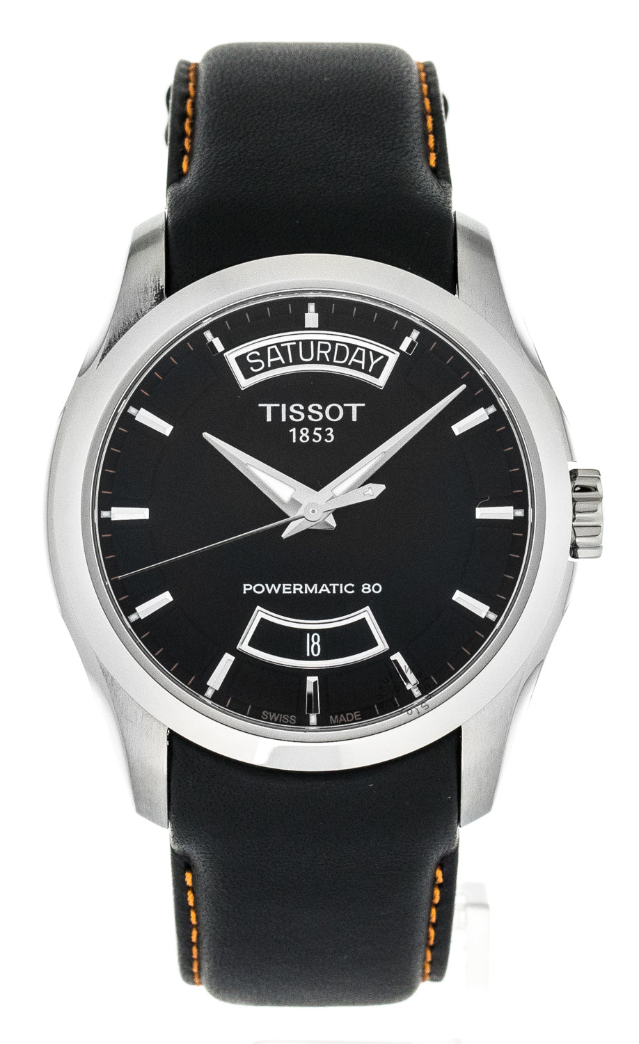 Tissot Couturier Powermatic 80 Black Leather Men Watch T0354071605103