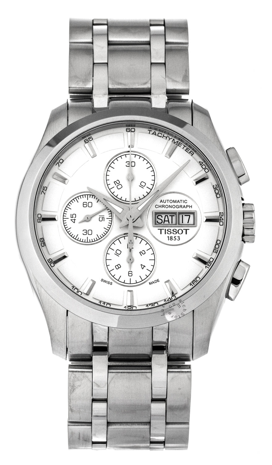Tissot Couturier Chronograph Silver Automatic Men Watch T0356141103100