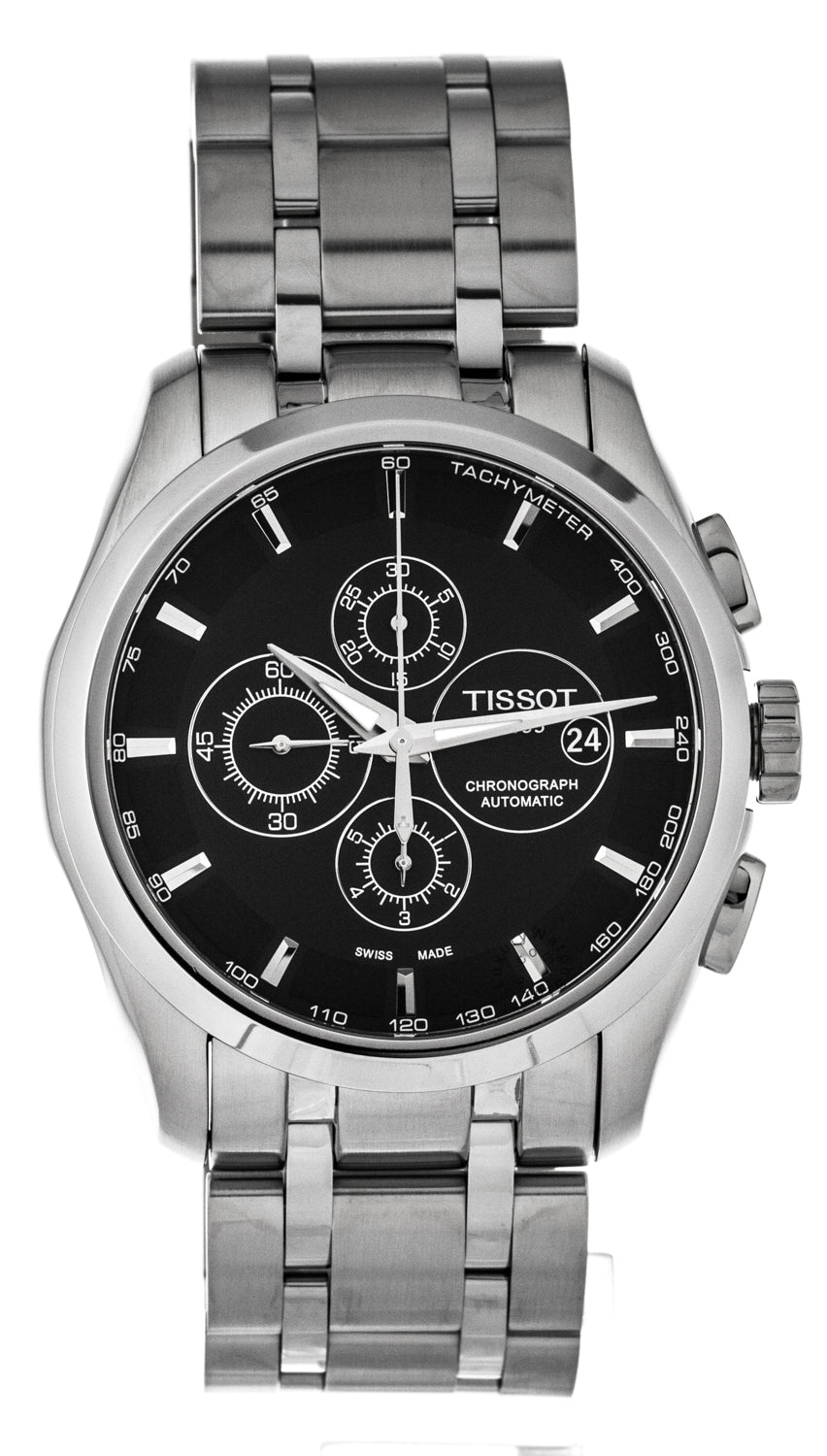 Tissot Couturier Black Chronograph Automatic Men Watch T0356271105100