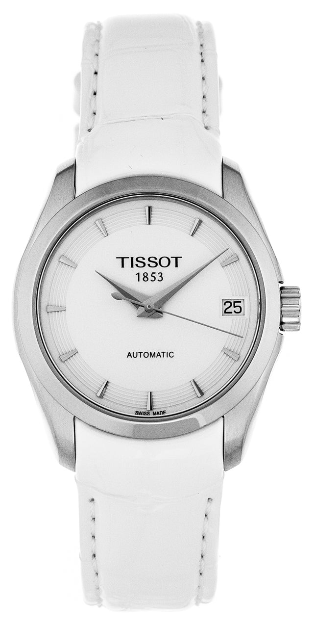 Tissot Couturier Women's White Leather Automatic Watch T0352071601100