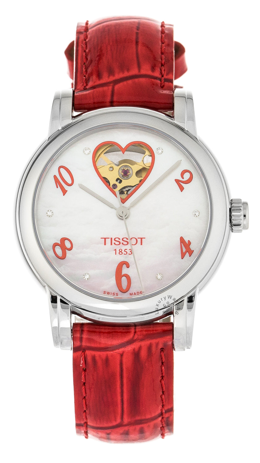 Tissot Lady Heart Automatic MOP Red Leather Women Watch T0502071611602