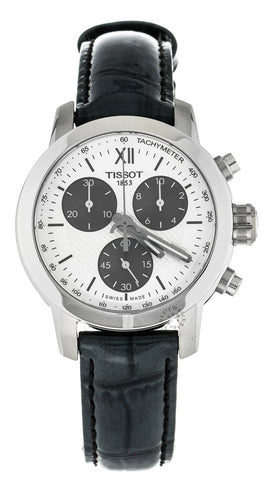 Tissot PRC200 Chronograph WHT Dial Black Leather Watch T0552171603800