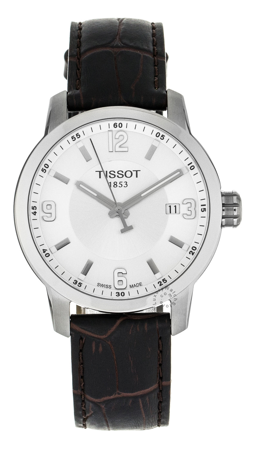 Tissot PRC200 Date Silver Dial Men Brown Leather Watch T0554101603700
