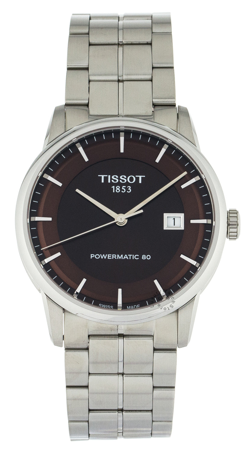 Tissot Luxury Powermatic 80 Brown Dial SS Quartz Watch T0864071129100