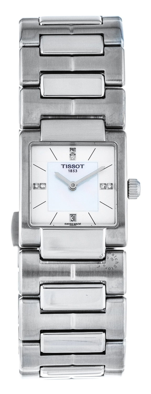 Tissot T02 Square White Pearl Dial Diamonds Women Watch T0903101111600