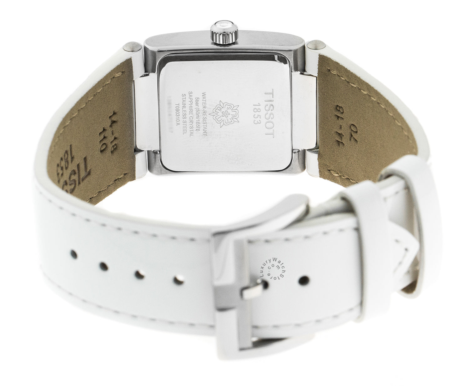 Tissot T02 White Pearl Dial White Leather Squared Watch T0903101611101
