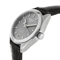 Tissot PR 100 Powermatic 80 Rhodium Dial Leather Watch T1012071607100