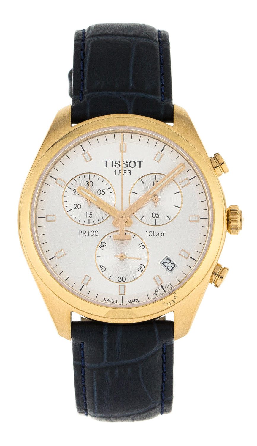 Tissot PR100 Chronograph Silver Dial Blue Leather Watch T1014173603100