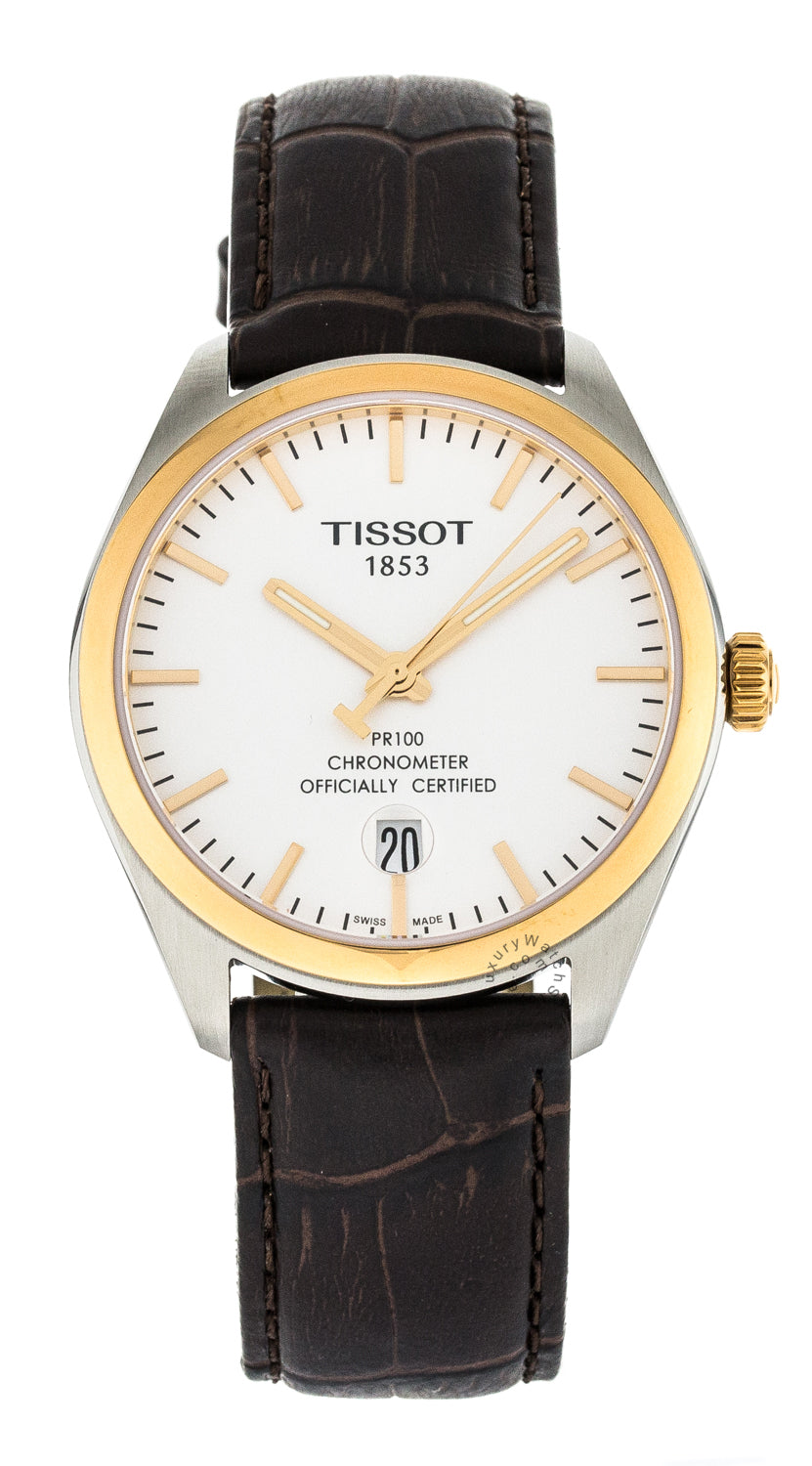 Tissot PR 100 COSC Silver Dial Rosegold Leather Watch T1014512603100