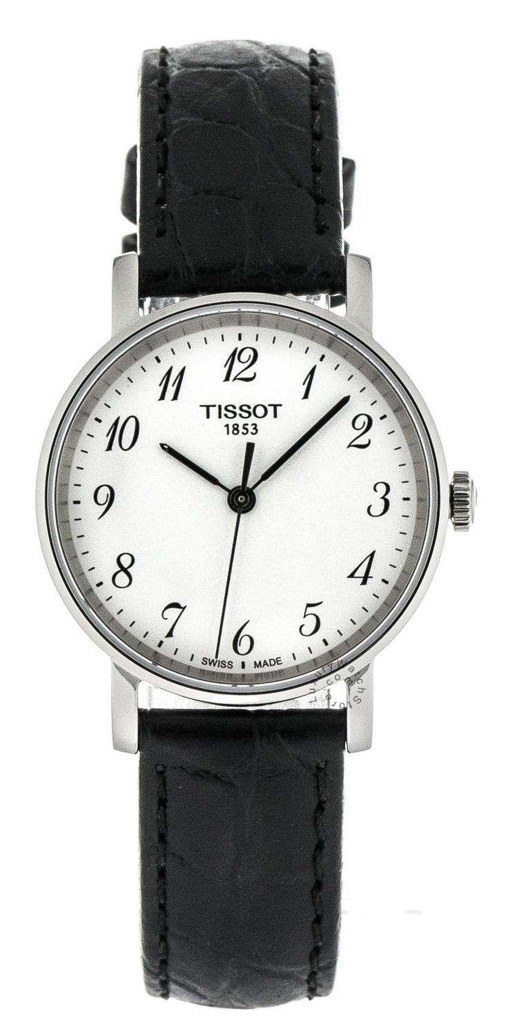 Tissot Everytime Silver Dial Black Leather Women Watch T1092101603200