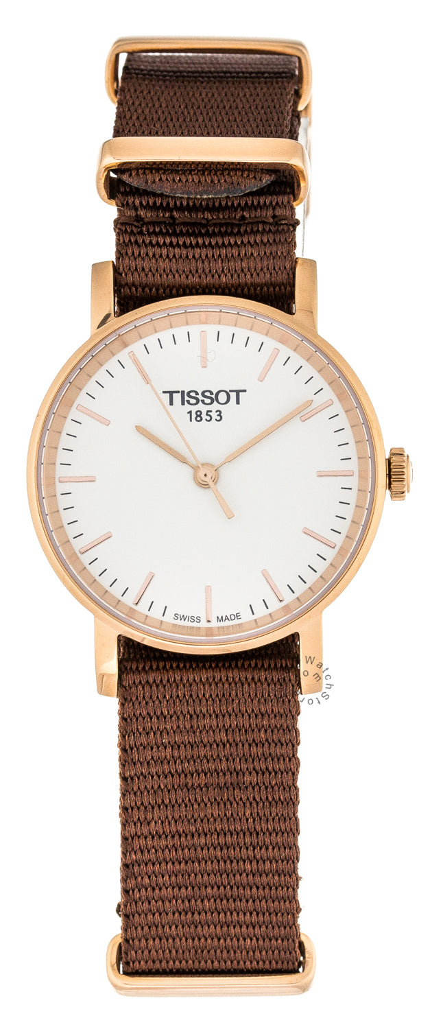 Tissot Everytime Silver Dial RG Steel BRN Fabric Watch T1092103703100