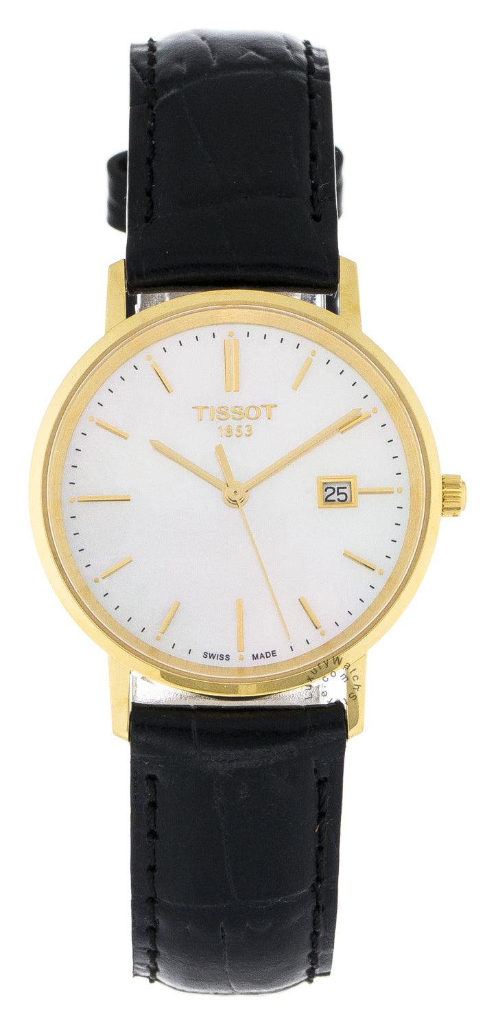 Tissot Goldrun Sapphire Pearl Dial 18k YG Leather Watch T9222101611100