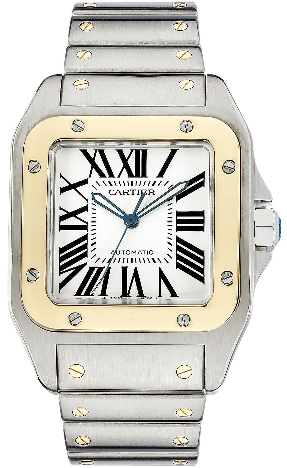 Cartier Santos 100 XL Auto Men 18kt Yellow Gold & Steel Watch W200728G