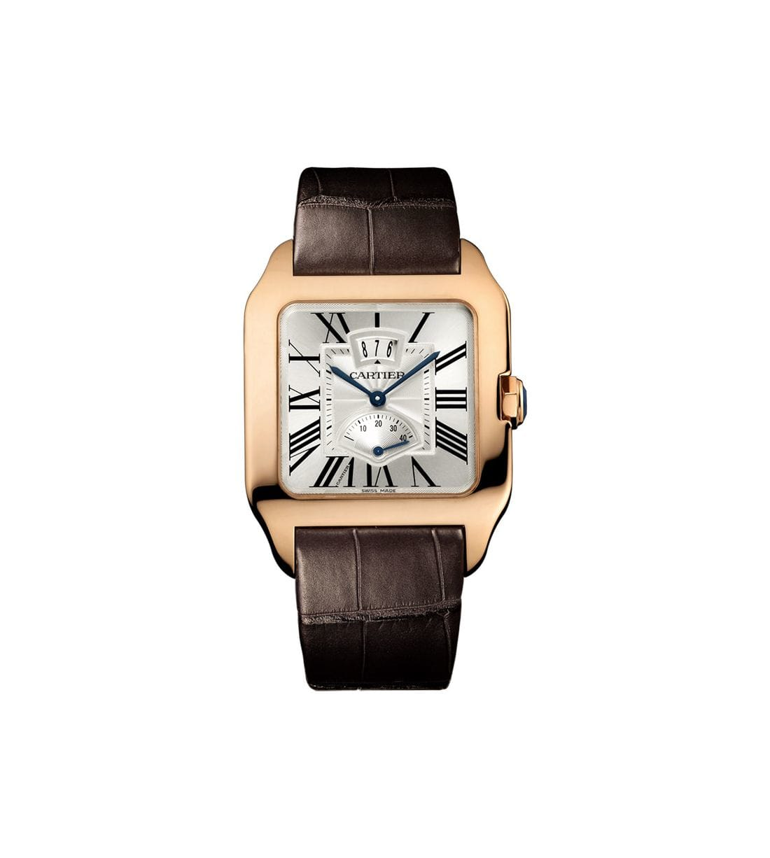Cartier Santos-Dumont Brown Leather Mechanical Men's Watch W2020067