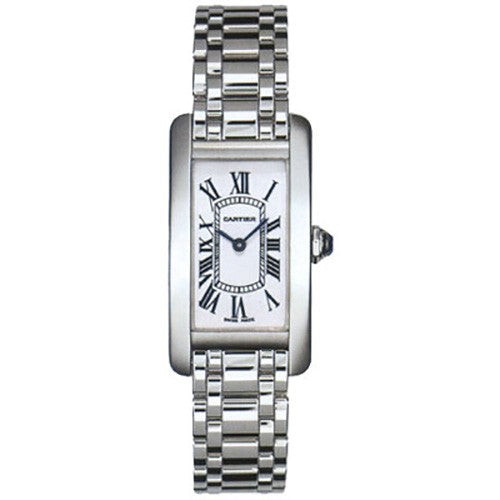 Cartier Tank Americaine 18k WHT Gold Silver Dial Women Watch W26019L1