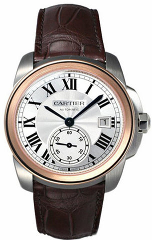 Cartier Calibre 18k Rose Gold Silver Dial Men Leather Watch W2CA0002