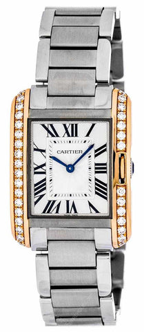 Cartier Tank Anglaise Medium 18k Pink Gold Diamonds Watch W3TA0003