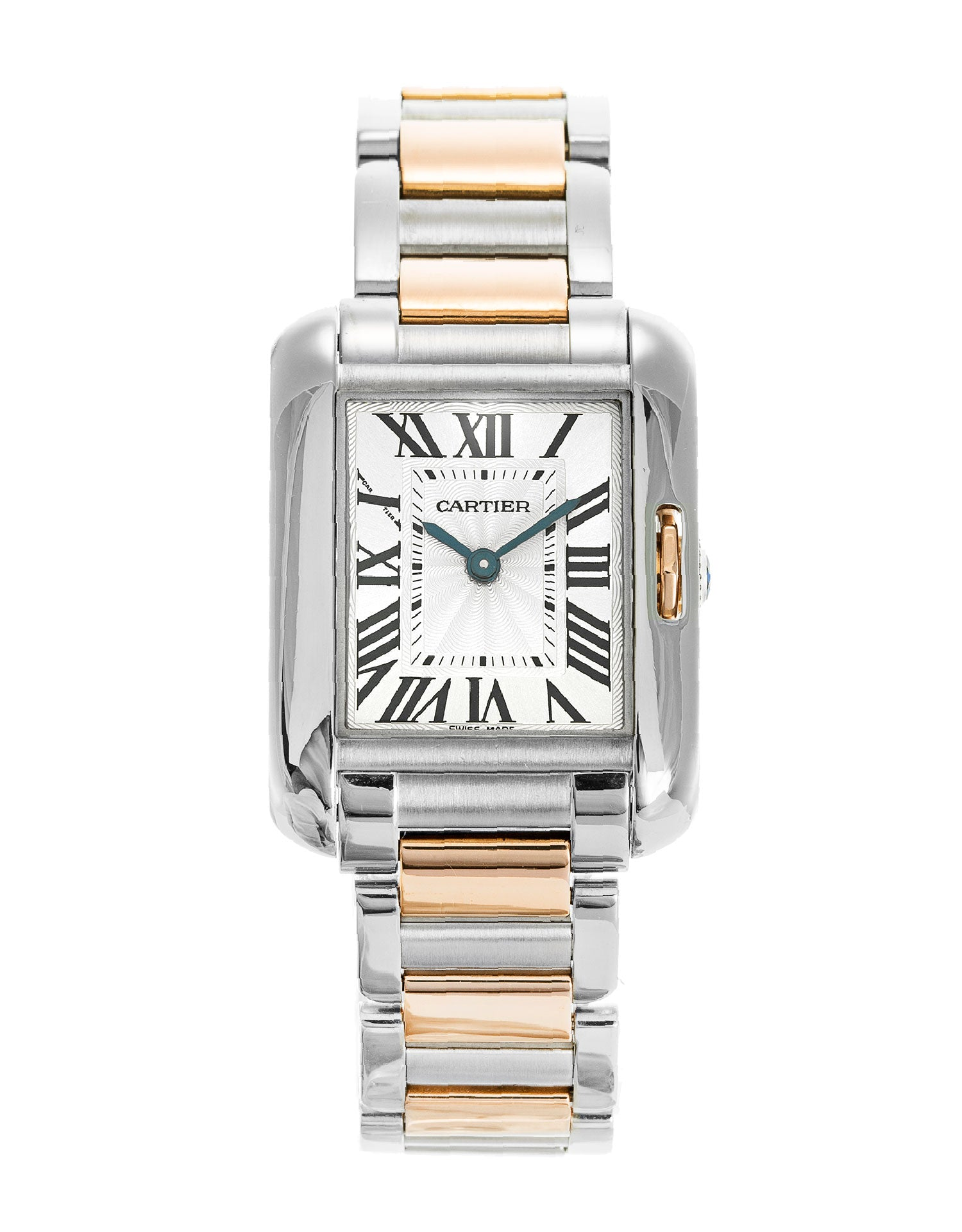 Cartier Tank Anglaise Small 18k Pink Gold/Steel Women's Watch W5310019