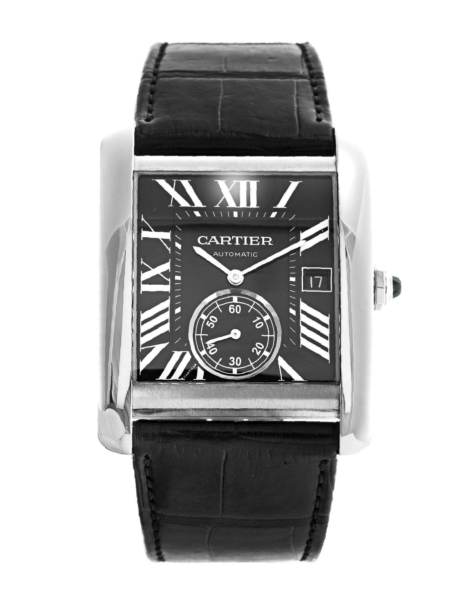 Cartier Tank MC Automatic Black Dial Black Men Leather Watch W5330004