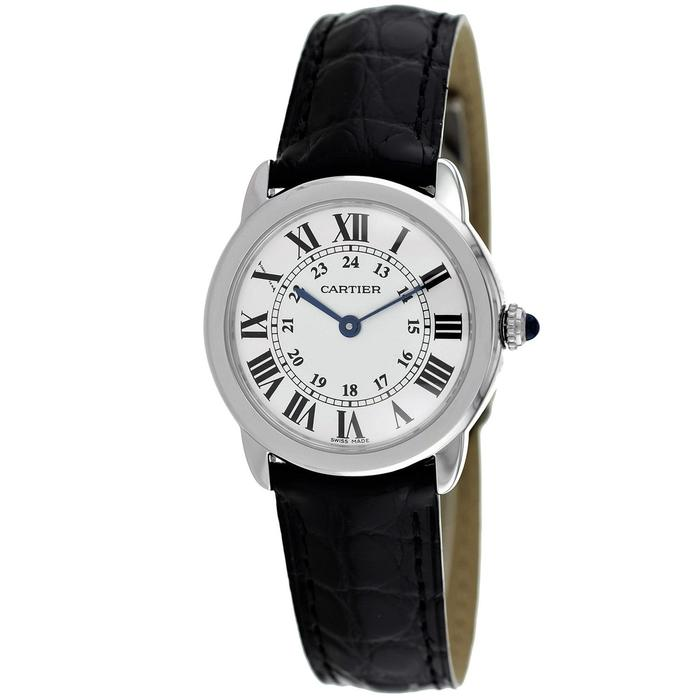 Cartier Ronde Solo Steel 29mm Black Leather Women's Watch W6700155
