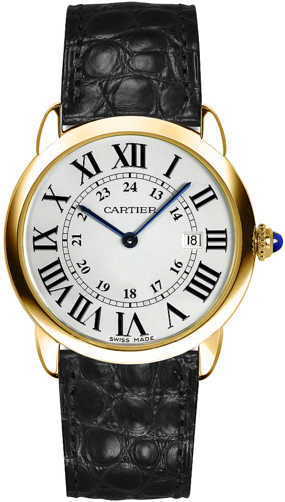 Cartier Ronde Solo 18KY Gold Silver Dial Leather Men's Watch W6700455