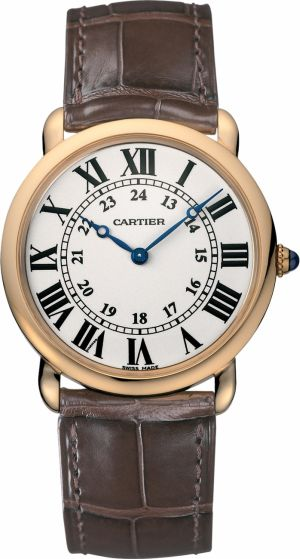Cartier Ronde Louis 18KT RoseGold Leather Band Auto Men Watch W6800251
