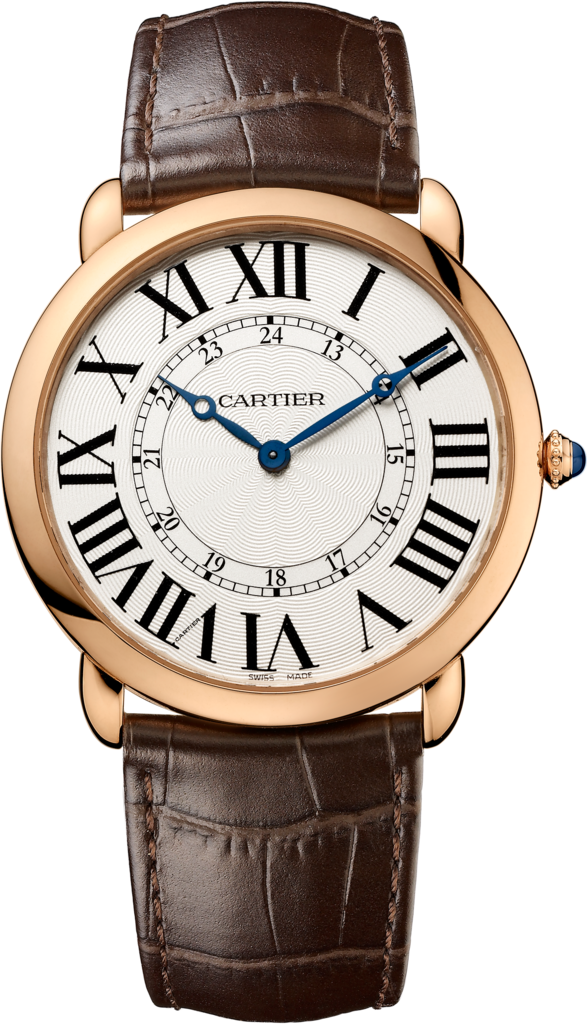 Cartier Ronde Louis XL 18k Rosegold Brown Leather Men's Watch W6801004