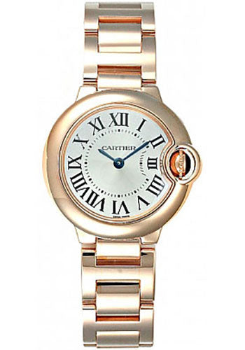 Cartier Ballon Bleu SM Silver Dial 18k Rose Gold Women Watch W69002Z2