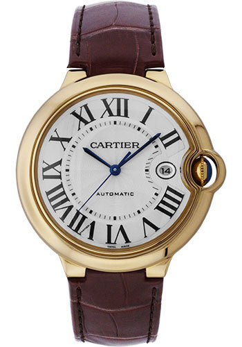 Cartier Ballon Bleu 18KT Yellow Gold Brown Leather Men Watch W6900551