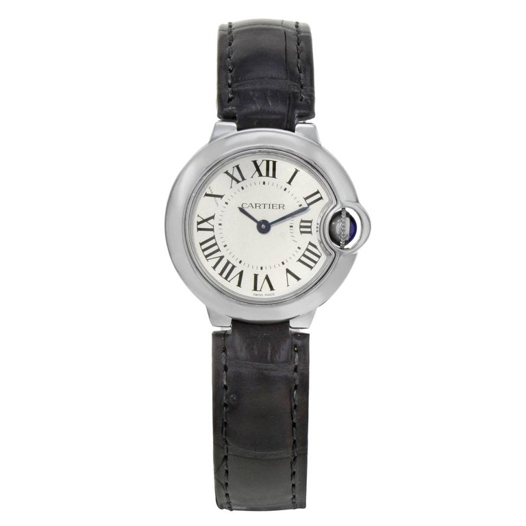 Cartier W69018Z4 Ballon Bleu 28mm Silver Dial Women BLK Leather Watch