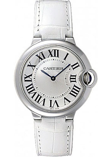 Cartier Ballon Bleu 36mm Silver Dial WHT Leather Women Watch W6920087