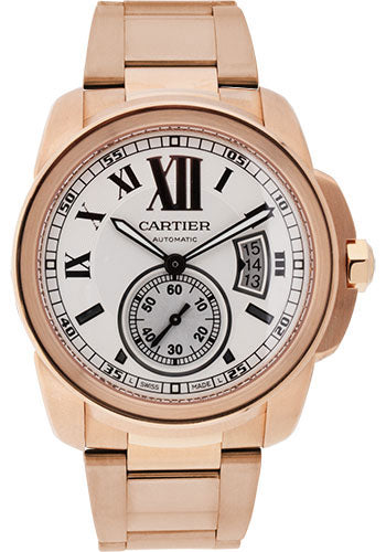 Cartier Calibre 18K Rose Gold Silver Dial Automatic Men Watch W7100018