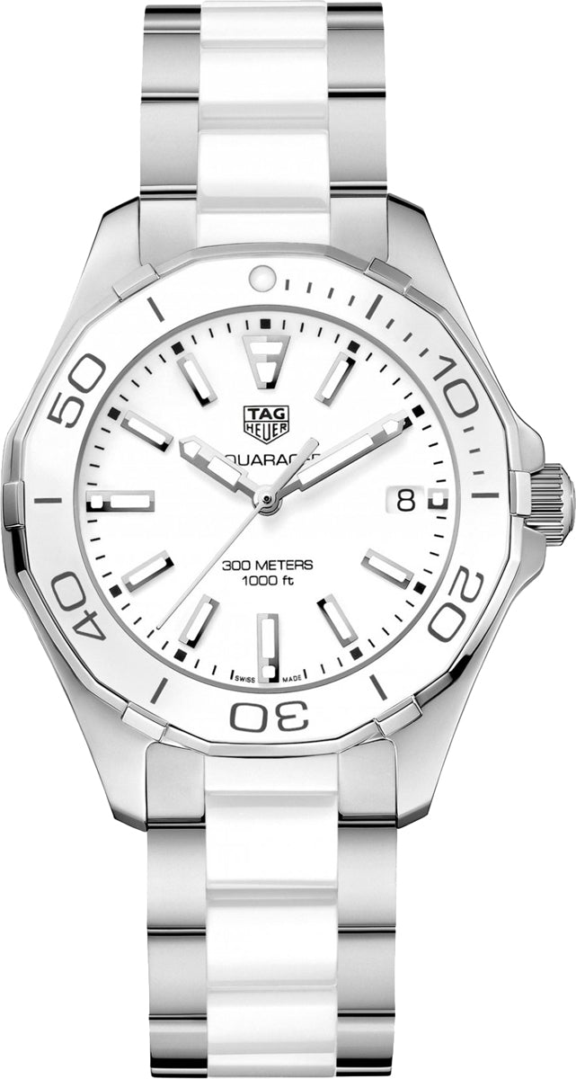 Tag Heuer Aquaracer White Dial Ceramic Links SS Watch WAY131B.BA0914