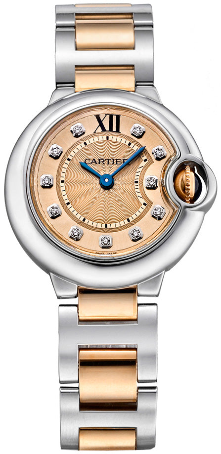 Cartier Ballon Bleu 11 Diamonds 18KT Pink Gold SS Women Watch WE902052