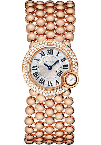 Cartier Ballon Blac WHT Pearl DIA Women 18KT Rose Gold Watch WE902057