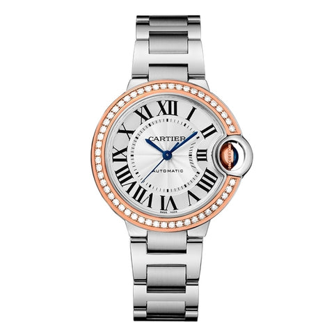 Cartier Ballon Bleu Silver Dial Diamond Automatic Women Watch WE902080