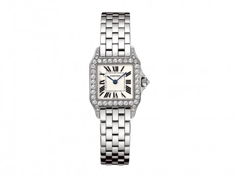 Cartier Santos Demoiselle 18kt White Gold Diamond Women Watch WF9003Y8